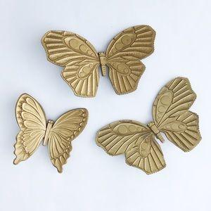3 Piece • Gold Butterfly Wall Decor